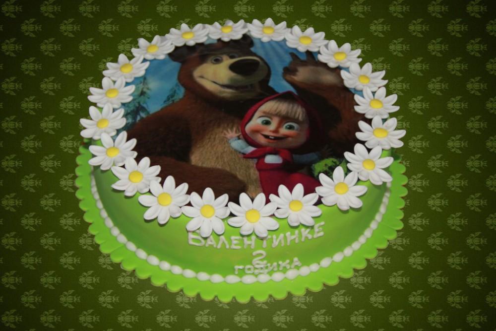 Фото торта с картинкой вафельной маша и медведь
